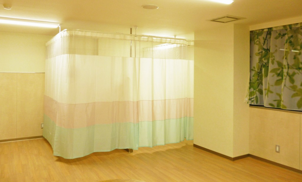 3色の切替え間仕切りカーテン